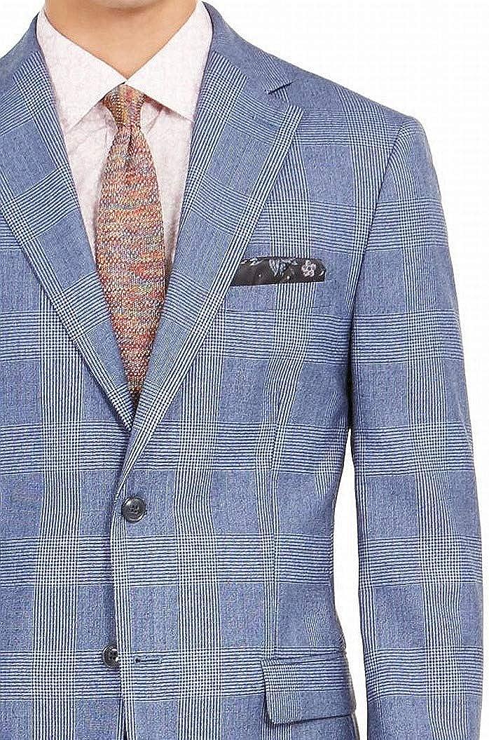 Tallia Mens Suit Jacket Long Slim Fit Wool Stretch Plaid Blue 40