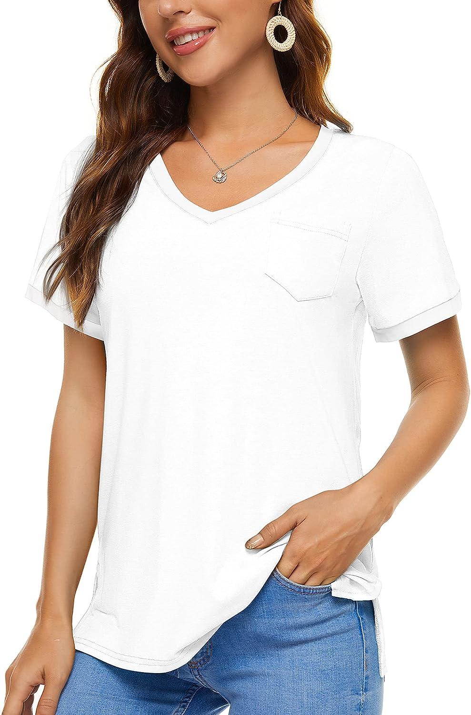XSRYT Women Summer Short Sleeve V Neck T-Shirt Side Split Tops with Pocket