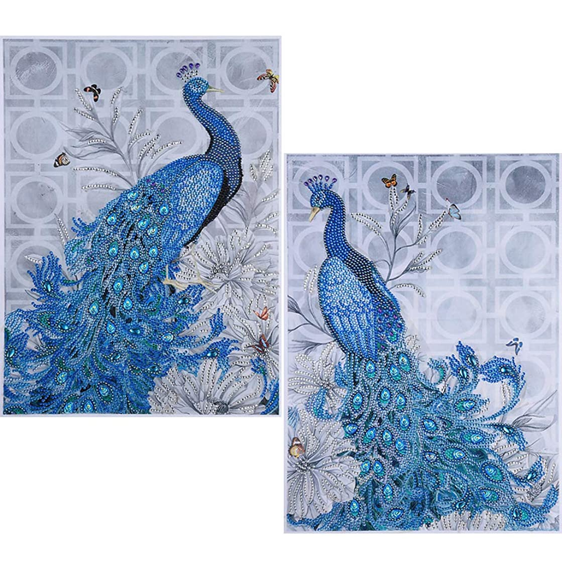 5D Diamond Painting Kits, DIY Diamond Cross Stitch by Numbers, Crystal Rhinestone Embroidery Paintings Pictures Arts Craft for Home Wall Décor by UmbWorld, 14''x 18'' (Peacock Set)