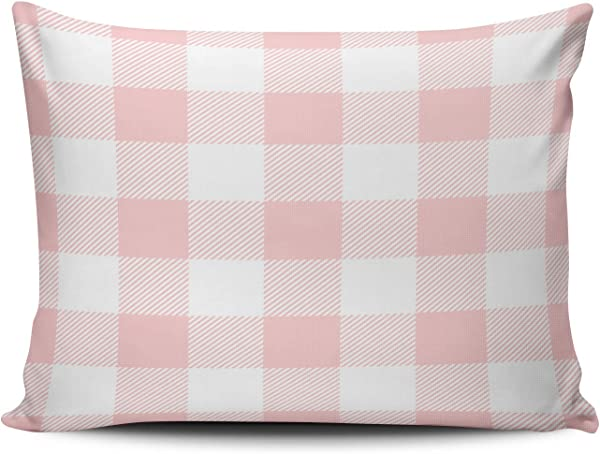 XIUBA Pillowcases Light Pink Preppy Buffalo Check Plaid Customizable Cushion Decorative Rectangle 12x18 Inch Boudoir Size Throw Pillow Cover Case Hidden Zipper One Side Design Printed