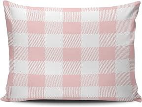 XIUBA Pillowcases Light Pink Preppy Buffalo Check Plaid Customizable Cushion Decorative Rectangle 12x18 inch Boudoir Size Throw Pillow Cover Case Hidden Zipper One Side Design Printed
