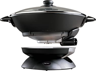 Aroma Housewares AEW-306 Electric Wok with Tempered Glass Lid Easy Clean Nonstick, Cooking Chopsticks, Tempura and Steaming R