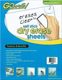 "GoWrite! PACASB8511 Self-Adhesive Dry Erase Sheets, White, 8-1/2"" x 11"", 30 Sheets"