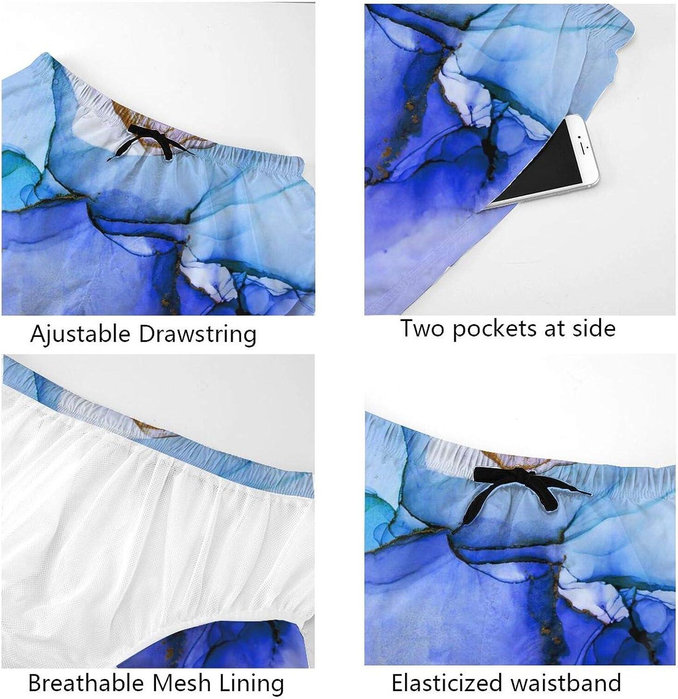 JINJUELS Mens Bathing Suits Colorful Blue Marble Bathing Suit Boardshorts Drawstring Elastic Surf Beach Shorts