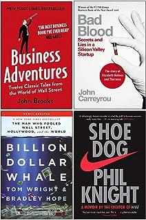 Business Adventures, Bad Blood, Billion Dollar Whale, Shoe Dog 4 Books Collection Set