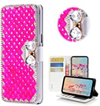 STENES Bling Case Compatible with Alcatel Verso/Alcatel CameoX/Alcatel IdealXCITE/Alcatel U50 - Stylish - 3D Handmade Crystal Square Lattice Bowknot Magnetic Wallet Flip Leather Cover - Hot Pink
