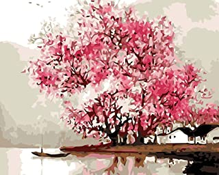 YEESAM ART DIY Paint by Numbers for Adults Beginner Kids, Pink Cherry Blossoms Tree Lake Ship 16x20 inch Linen Canvas Acrylic Stress Less Number Painting Gifts (Cherry Blossoms, with Frame)
