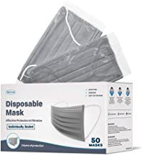 WeCare Disposable Face Mask Individually Wrapped - 50 Pack, Grey Masks 3 Ply