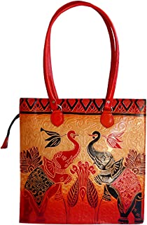 Twin Royal Elephants Design Ethnic Hand Embossed Shantiniketan Leather Indian Shoulder Bag