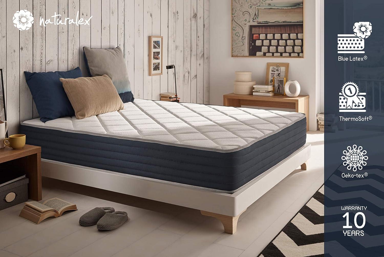 Naturalex - Royalvisco – Viscoelastische Matratze - Latexmatratze Blau Latex – ko-Tex – 100% atmungsaktiv - beliebig drehbar - Hrtegrad H4-90 x 190 x 24 cm