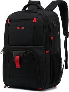 POSO Travel Laptop Backpack 17.3 Inch Computer Bag with USB Port Business Rucksack Hiking Knapsack Multi-Compartment Men Backpack for Dell Alienware Series/HP/Lenovo/Acer