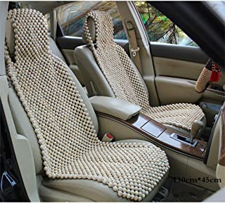 ChengBangDa 1PCS Wooden Bead Beaded Massage Front Seat Cushion Cover Car Van Office Summer Seat Covers (White)