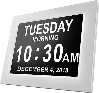 Day Clock - Reloj Digital Grande, Sin Abreviaturas, Para Ancianos y Pacientes con Demencia
