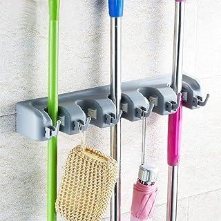 Aiky Mop Broom Holder Wall Mount Heavy Duty Non-Slide 5 Slots with 6 Hooks Laundry Room Organizer Rack Garden Tool Kitchen...