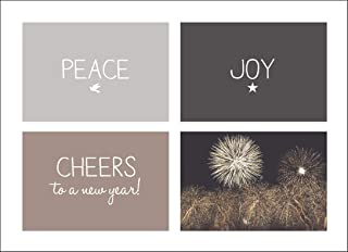 New Year Greeting Cards - N1502. Greeting Cards with Peace, Joy and Cheers to the New Year on the Front. Box Set Has 25 Greeting Cards and 26 White with Silver Foil Lined Envelopes.