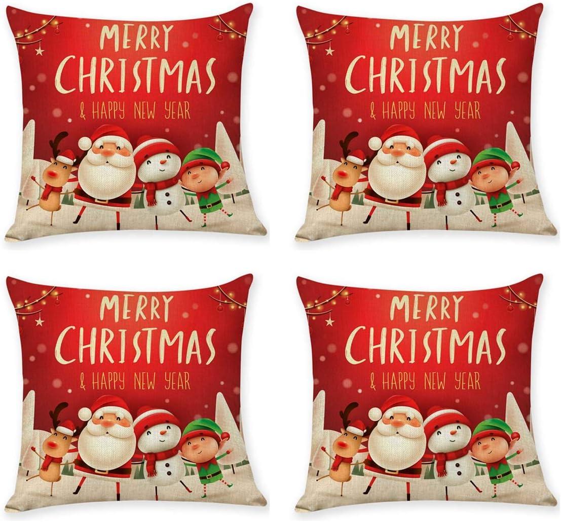 MINILIFE 4 Over item handling ☆ PCS Christmas Throw Festival Cush Pillow Home 35% OFF Winter