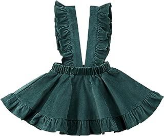 Toddler Baby Girls Velvet Suspender Strap Skirt Overalls Infant Ruffled Casual Dress Outfit
