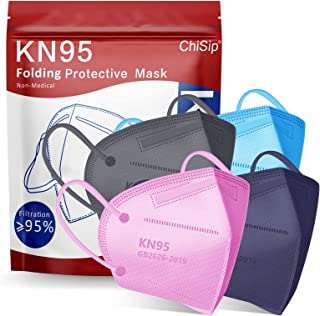 KN95 Face Mask 20Pcs, 5 Layer Design Cup Dust Safety Masks, Breathable Protection Masks Against PM2.5 Dust Bulk for Adult,...