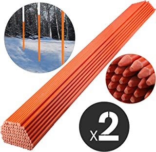 Mophorn Driveway Marker 5/16-inch Diameter x 48-inches Snow Stakes Orange 200-Pack Fiberglass Plow Stakes for Pavement Marking in Snow Season