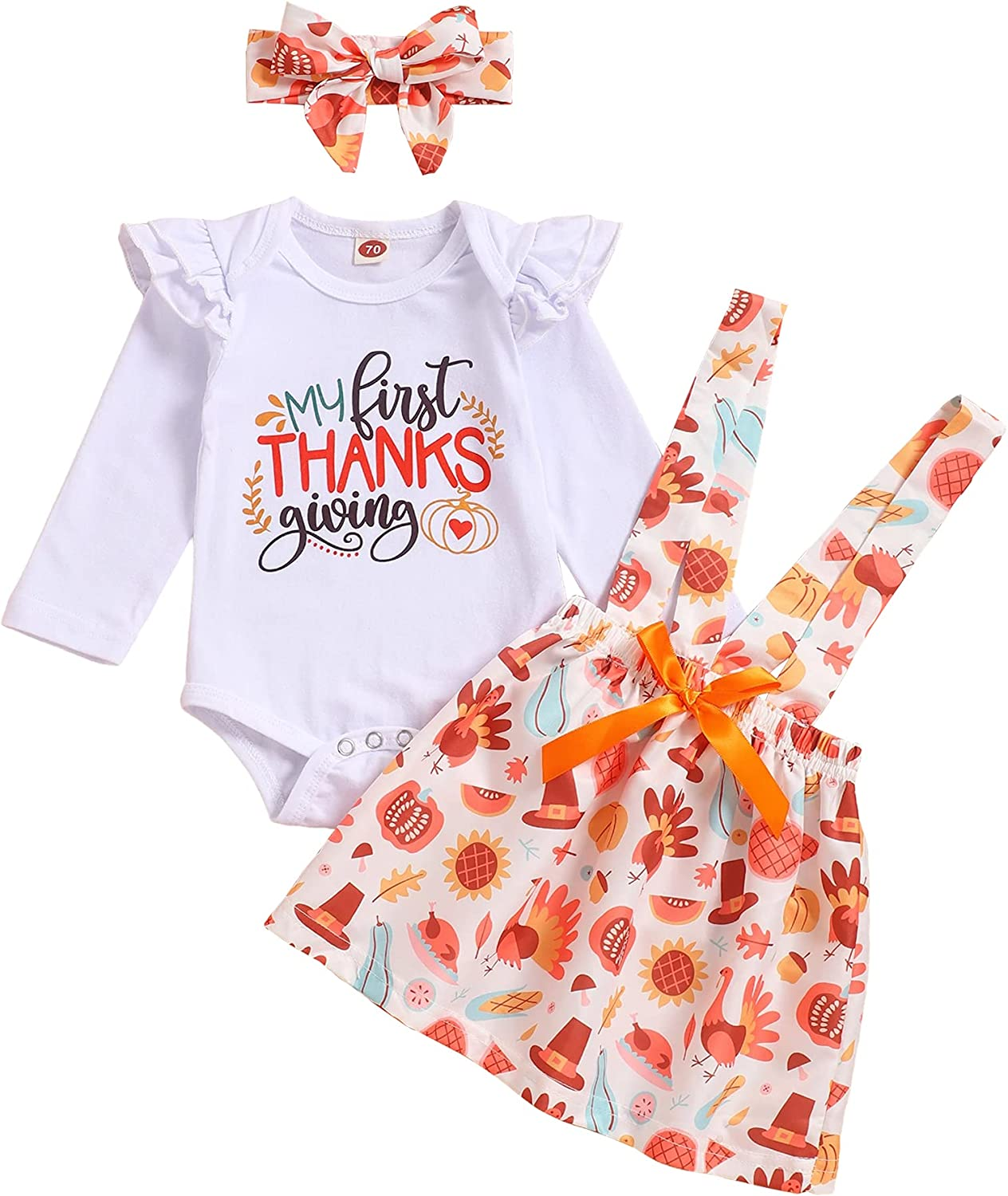Thanksgiving Outfits Newborn Baby Girl Long Sleeve Romper+ Bow-Tied Skirt + Headband Clothes Set