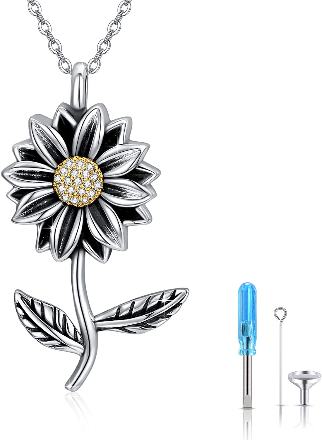 Sunflower Urn Necklace 925 Sterling Jewelry Silver 5 popular Cremation Quality inspection fo