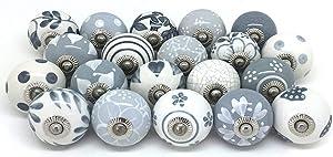 Artncraft 10 Knobs Grey & White Cream Rare Hand Painted Ceramic Knobs Cabinet Drawer Pull Pulls…