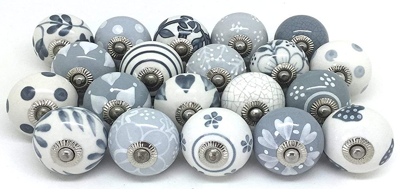 12 Door Knobs Grey & White Hand Painted Ceramic Knob Cabinet Knobs Drawer Pull by Zoya's rrckobgypspxv77