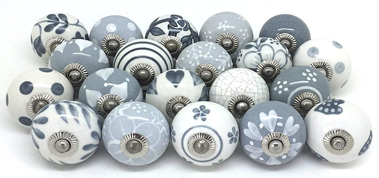 12 Door Knobs Grey & White Hand Painted Ceramic Knob Cabinet Knobs Drawer Pull by Zoya's tsqysbewuiqhj2