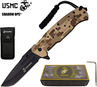 USMC Officially Licensed US Marines Desert Camo Ball Bearing Action Blade Tactical Rescue Knife Belt Case