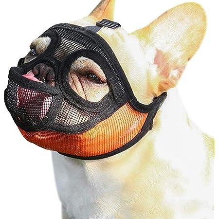 Weewooday 2 Pieces Short Snout Dog Muzzle Mesh Mask Adjustable Breathable Mesh Bulldog Muzzle Barking Biting Chewing Training for Small Medium Large Dog