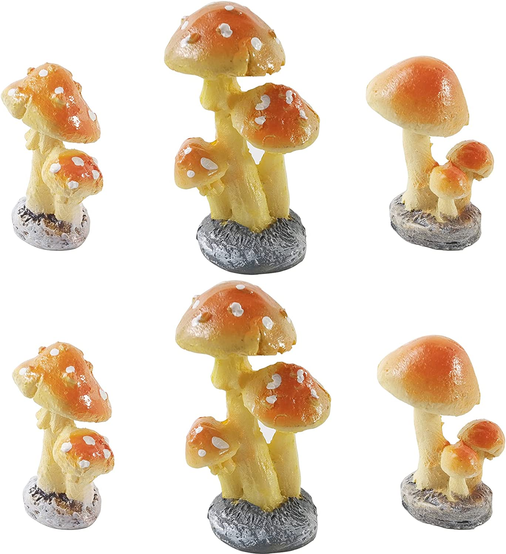 RONYOUNG 6PCS Fairy Mushroom Figurines Fairy Garden Miniatures Decoration Orange Mushroom Resin DIY Garden Ornament Micro Landscape Mini Dollhouse