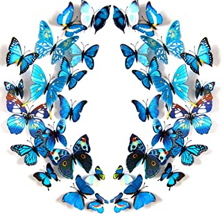 JYPHM 24PCS 3D Butterfly Wall Decal Removable Refrigerator Magnets Stickers Decor for Kids Room Decoration Home and Bedroom Art Mural Blue