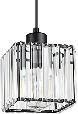 Creyer Crystal Pendant Lighting Modern Chandelier, 1- Light Cuboid Crystal Pendant Chandelier for Dining Room Bathroom Bedroom Living Room Hall, E26 Base(Bulbs Not Included)