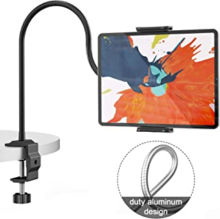 Klsniur Gooseneck Tablet Holder, Universal Tablet Stand 360 Flexible Lazy Bracket Clamp Long Arms Mount Compatible with iP...