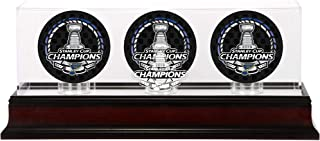 Fanatics Authentic NHL St. Louis Blues Stanley Cup Champions Mahogany Three Hockey Puck Logo Display Case, Black, One Size