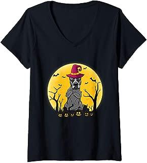 Womens Staffordshire Terrier Dog 2 Middle Finger Fuck Funny V-Neck T-Shirt