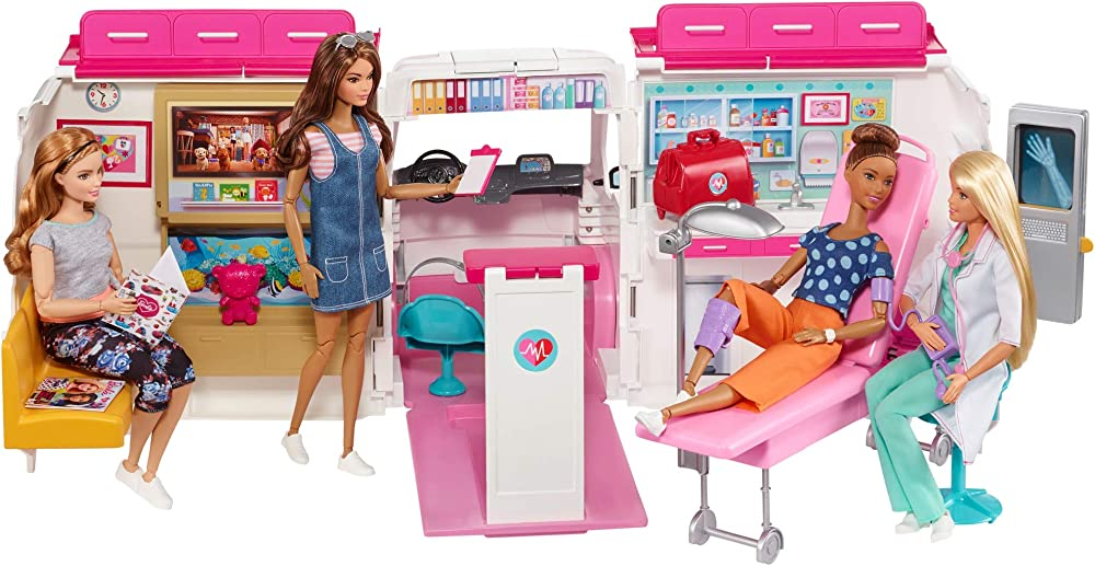 Barbie ambulanza, trasformabile in clinica mobile con 3 stanze e tanti accessori, sirena funzionante FRM19
