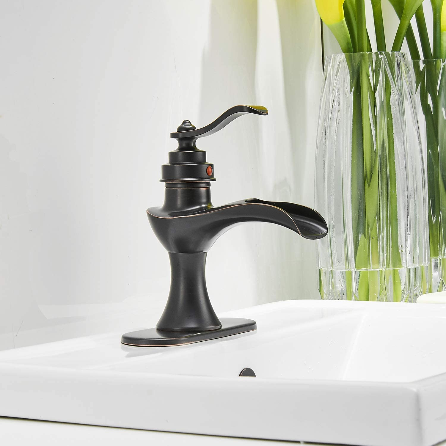 Buy Waterfall Bathroom Faucet Oil Rubbed Bronze Sink With Pop Up Drain Stopper Faucets Single Hole Rustic Vanity Farmhouse Overflow One Handle Bath Black Commercial Assembly Lead Free By Bathadore Online In Poland