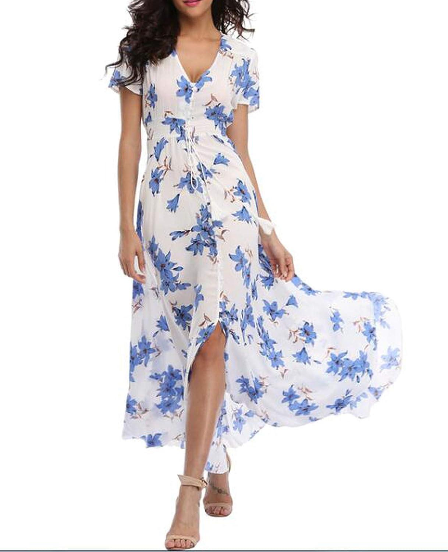Glad You Came Long Summer Floral Maxi Dress Women Flower Print Casual Split Beach Dress Elegant Cotton Vintage,2,XL
