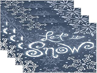 Let It Snow Welcome Winter Placemats Set of 4 Table Mat, White Snowflake Blue Christmas Table mats Placemats Heat-resistant Stain Resistant Washable for Kitchen Dining Decoration 12