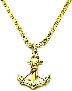 Collana da Uomo in Oro Giallo 18kt (750) Catena Lumachina Cm 50 Pendente Ancora Filo Corda