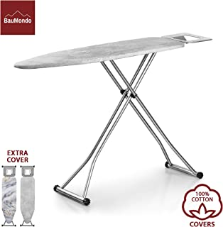 BAUMONDO Ironing Board, Adjustable Height, 4-Leg, 43.3''x13'' Board with Ironing Rest