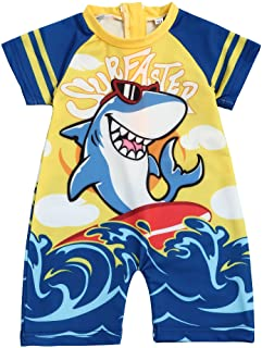 Toddler Baby Boy Swimsuit One Piece Zipper Short Sleeve Shark Bathing Suit Baby Boy for Swimwear