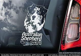 Sticker International Australian Shepherd   Autoaufkleber   Hund Schild Fenster, Stoßstange Aufkleber Geschenk   V003   Weiß/Klar   Externe Außen Aufdruck, 195x100mm