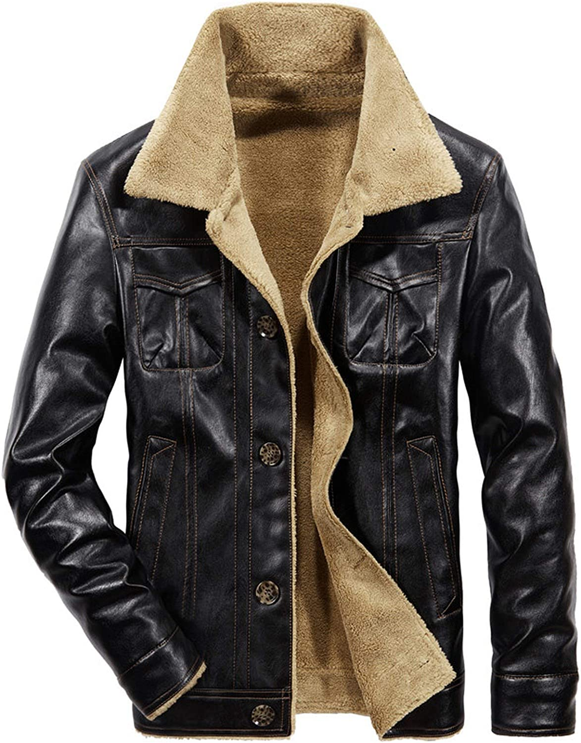 Men Pu Leather Jacket Ranking TOP4 Winter It is very popular Thick Co Male Pilot Fur Warm