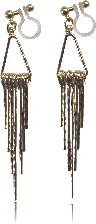 Miyabi Grace Elegant Bar Invisible Clip On Earrings Dangle Women Non Pierced Fringe Clip On Earrings