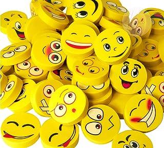 Kicko Emoji Eraser - 72 Pack - Yellow Emoticon Round Face Assortment - School Supply, Party Favor, Novelty Reward - 1 Inch