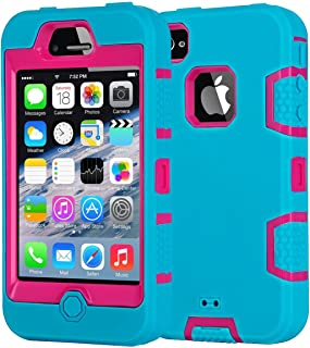 Slim iPhone 4S Case,Shockproof Heavy Duty Combo Hybrid Defender High Impact Body Rugged Hard PC & Silicone Case Protective Cover for Apple iPhone 4 4S (Blue Rose)