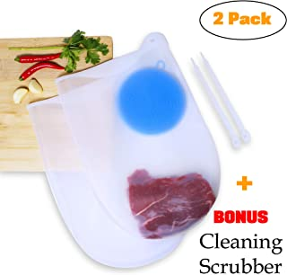 Chef Smarts - 2 Pack Premium Reusable Large Cooking Silicone Sous Vide Bags | + 1 FREE Cleaning Scrubber | Fresh Keeping | Eco-Friendly | Food Preservation | Immersion Circulators | Kitchen accessories