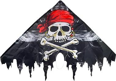 In the Breeze Fringe Delta Kite - Single Line Beginner Kite - Smokin' Pirate, 50-Inch
